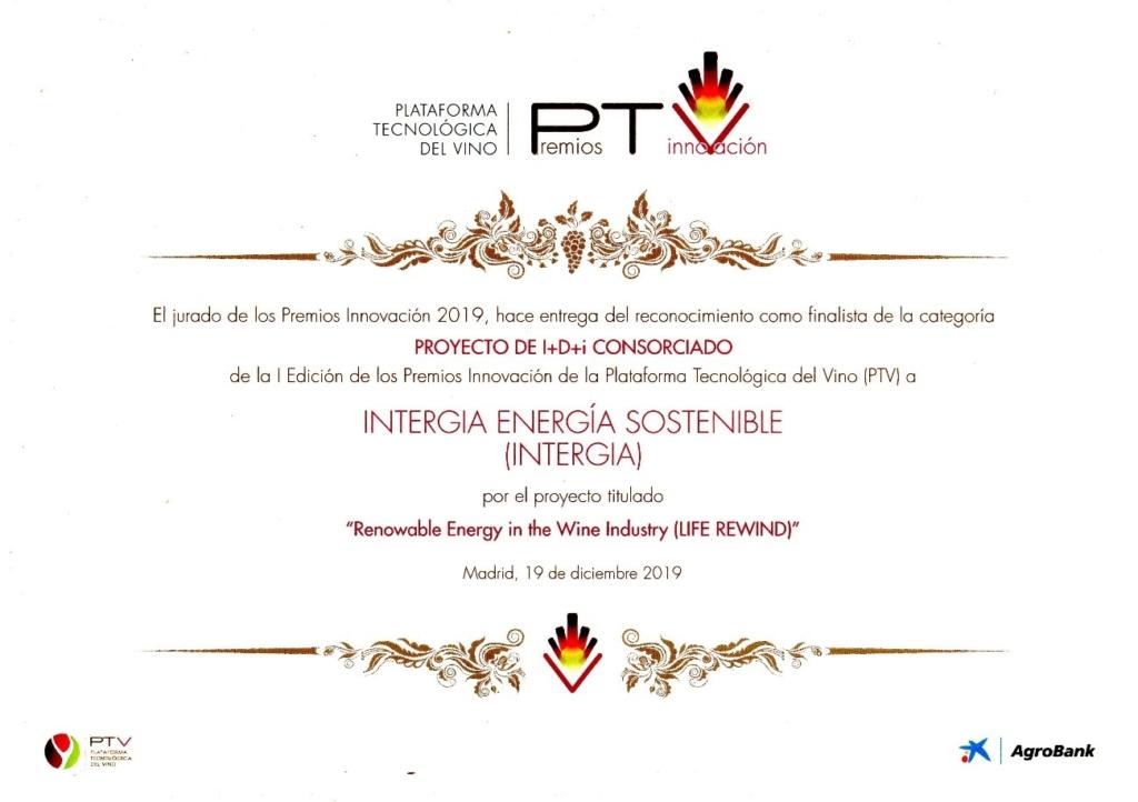 Diploma Premios Innovacion 2019 PTV